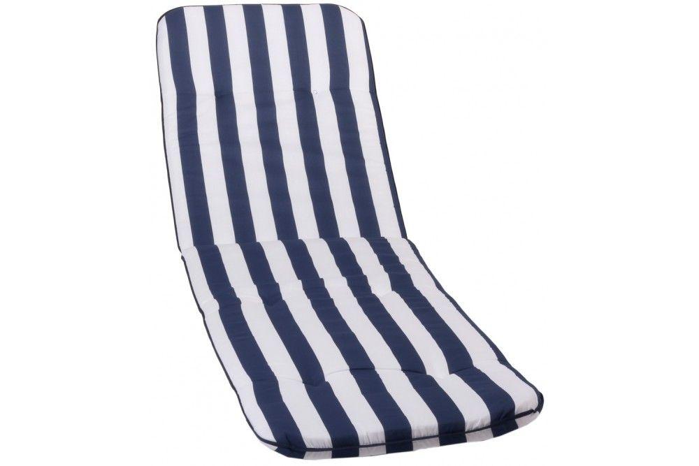 Bally kék-fehér csíkos Napozóágy párna 193x60x5cm