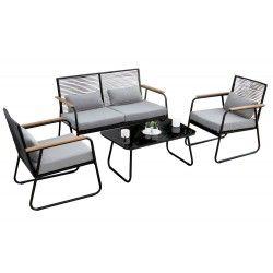 Paxos 4 részes kültéri párnázott acélvázas ülőgarnitúra asztallal