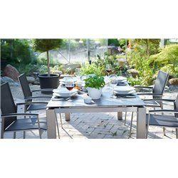 Auris kültéri asztal és 4 szék garnitúra, időjárásálló (kerámia)