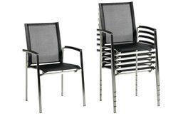 Auris kültéri rakásolható rozsdamentes szék karfával 2 db-os szett