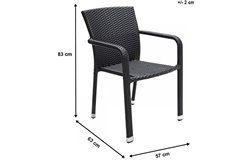 Carlos kültéri rakásolható alumínium szék karfával 2 db-os szett fekete