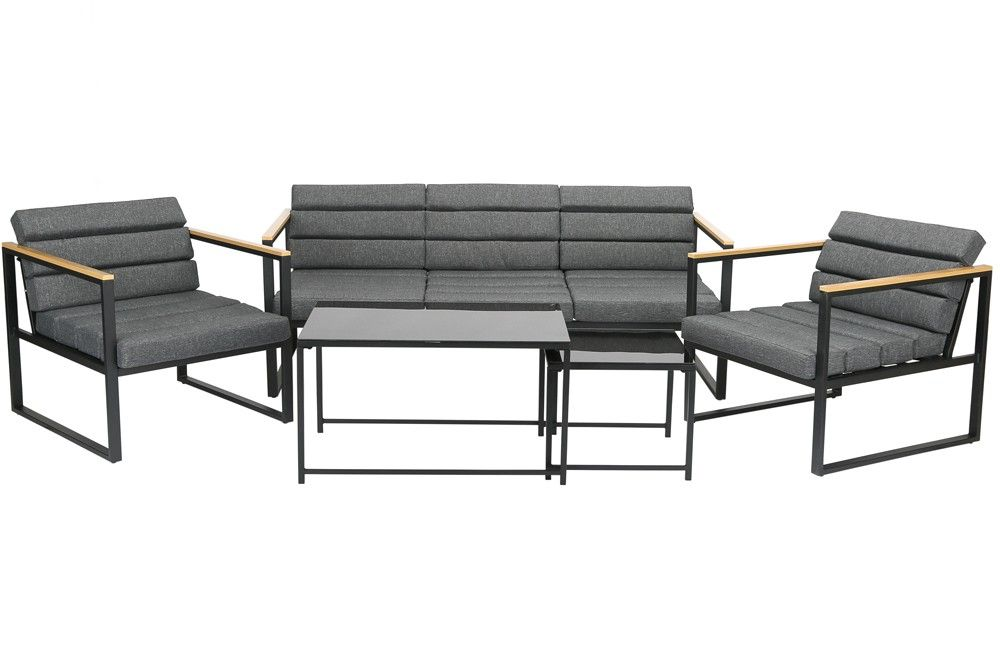 Space-two 5 részes kerti acélvázas ülőgarnitúra asztallal